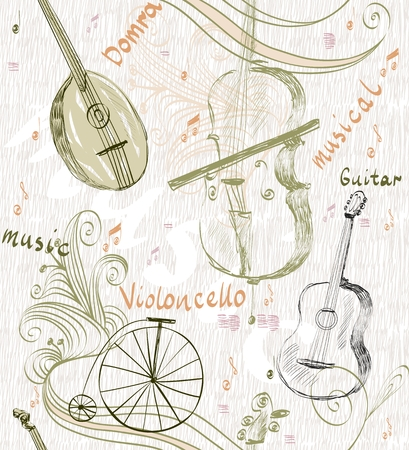 cellos: hand drawn seamless pattern of classical musical instruments