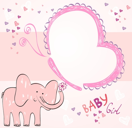 Hand drawn illustration with pink baby elephant. Illustration