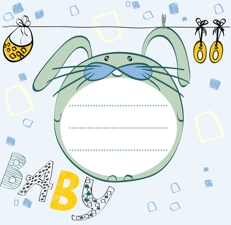 hand drawn frame: Cute hand drawn  frame with baby elements.