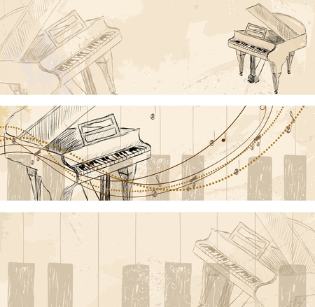 symphonic: Vector Sketch Grand Piano on a light background. Banners