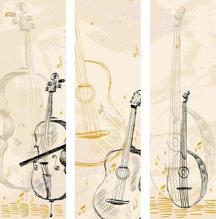 明るい背景に描かれた楽器を手します。