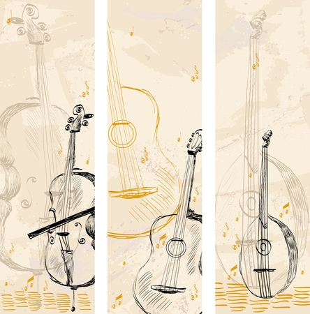 hand drawn musical instruments on a light background