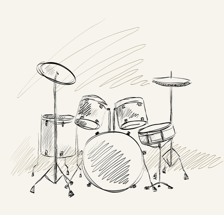 Hand drawn drum on a light background. Vector Illustration