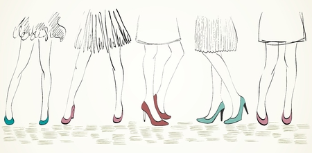people in line: Vector girls in fashionable shoes. Hand drawn illustration.