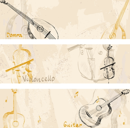 cellos: hand drawn musical instruments on a light background