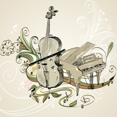 hand drawn illustration of classical musical instruments