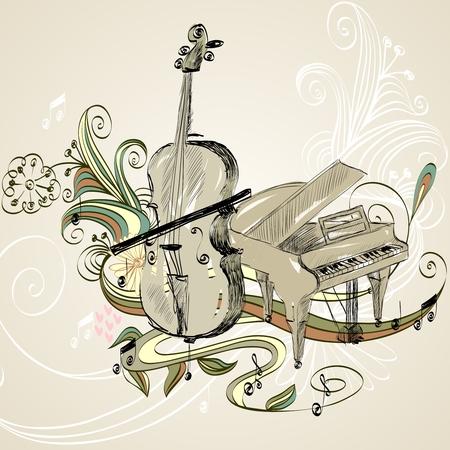 hand getekende illustratie van klassieke muziekinstrumenten