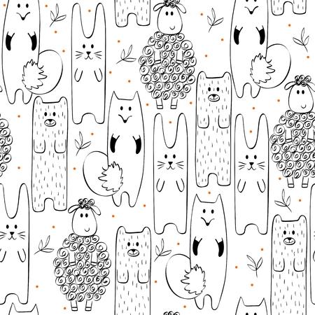 Ilustración dibujada a mano. Patrón sin fisuras con animales de dibujos animados.