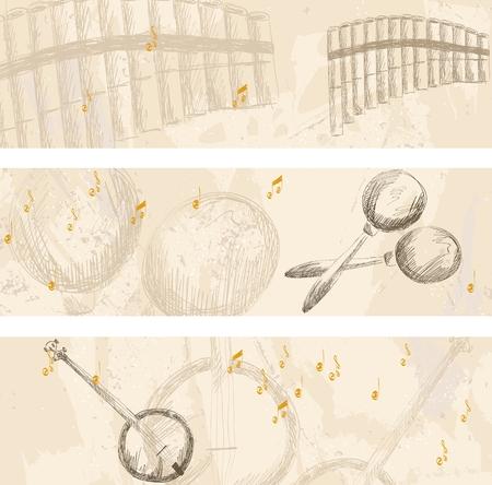 zampona: Pancartas musicales. instrumentos musicales sobre un fondo claro