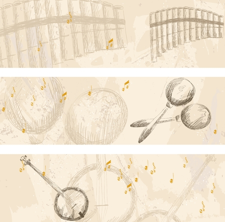 panpipe: Vector musical banners. Musical instruments on a light background
