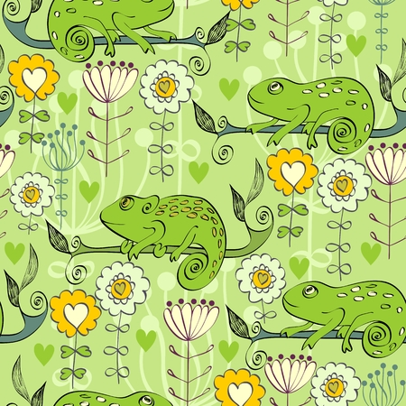 Vector hand drawn illustration with cartoon Chameleon Vectores