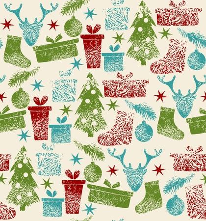 Elementi natalizi e renne Vector seamless pattern di sfondo. Archivio Fotografico - 64020127