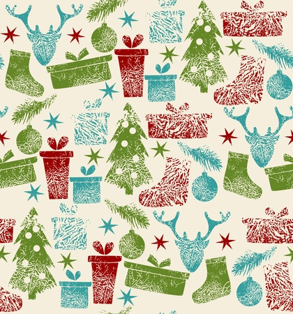 Christmas elements and  reindeer. Vector seamless pattern background.