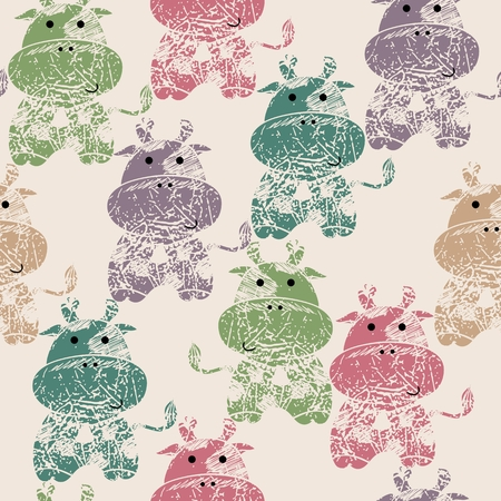 imprint: Vector illustration with the imprint of cows. Seamless pattern