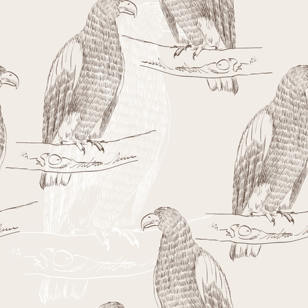 sketch of an eagle sitting on a branch. Seamless pattern