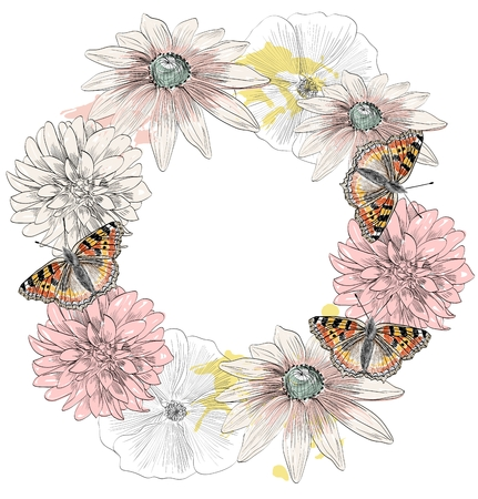 Vector sketch of a butterflies with flowers. Hand drawn illustration Illustration