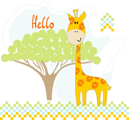 childish: childish card with cartoon giraffe. Vector illustration Illustration