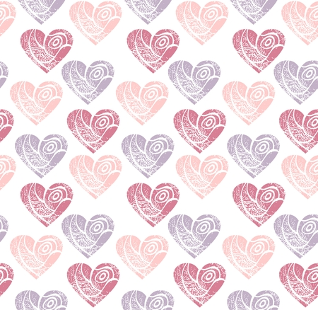 dearness: Vector hand drawn  seamless pattern of hearts