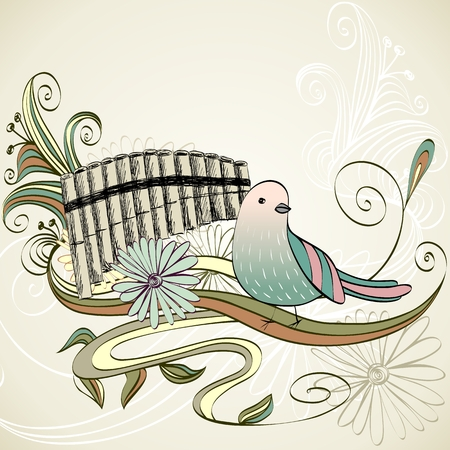 panpipe: sketch of a panpipe on a light background.