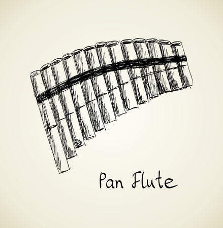 sketch of a panpipe on a light background.