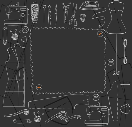 tailoring: sketch  tailoring equipment, mannequin,  sewing machine. Hand drawn illustration Illustration