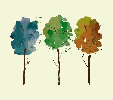 stroking: Vector illustration hand drawn with watercolor trees