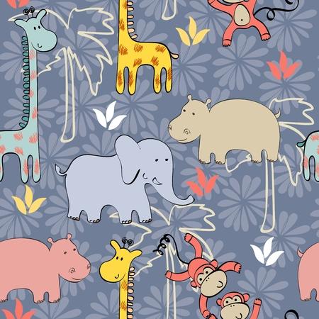 childish: Vector illustration with cartoon animals. Seamless pattern