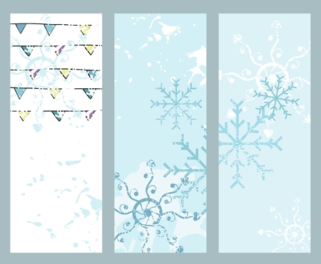 rime: Abstract Winter Banners with beautiful blue snowflakes Illustration