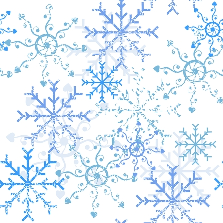 Seamless pattern. Winter Background with beautiful blue snowflakes