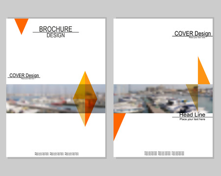 brochure cover design: Vector brochure cover templates with blurred seaport. Business brochure cover design. Illustration