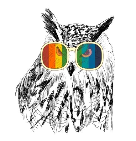 Vector sketch of owls with glasses. Retro illustration Illustration