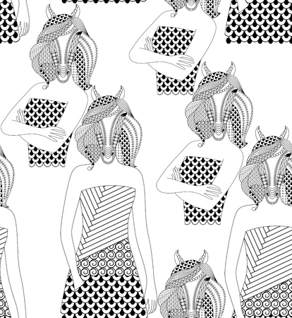 anthropomorphism: Fashion horse woman. Coloring book for adults, vector illustration. Seamless pattern