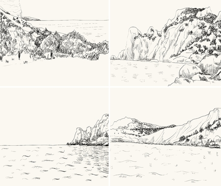 rocky: Vector summer seascape sketch. Rocky shore, lapped by the surf Illustration
