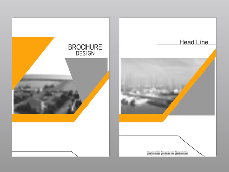 seaport: Vector brochure cover templates with blurred seaport. Business brochure cover design