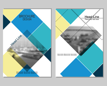Vector brochure cover templates with blurred seaport. Business brochure cover design. Illustration