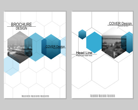 seaport: Vector brochure cover templates with blurred seaport.