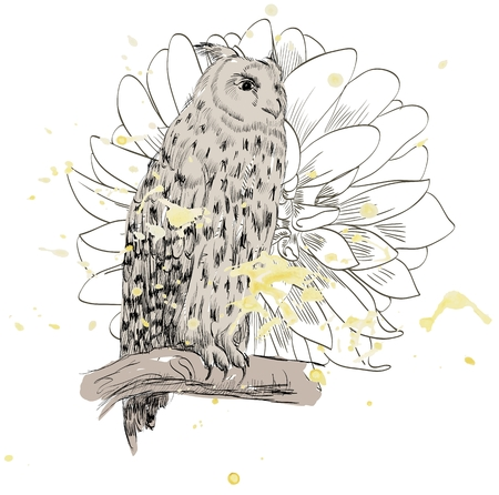 Vector sketch of a owl with flowers. Hand drawn illustration  イラスト・ベクター素材