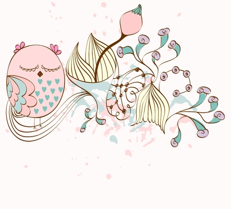 illustration with owls sitting on the branches. Fantasy flowers Illustration
