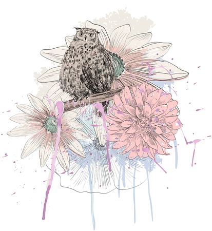 Vector sketch of a owl with flowers. Hand drawn illustration Illustration