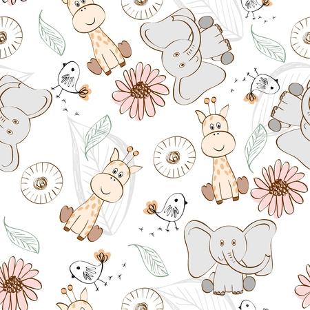 Ilustración del vector con los animales de dibujos animados. patrón sin fisuras