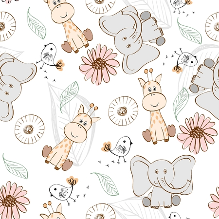 Vector illustration with cartoon animals. Seamless pattern