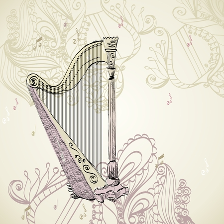 melodic: Hand drawn illustration of an ancient harp. Illustration