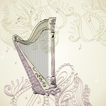 gilded: Hand drawn illustration of an ancient harp. Illustration