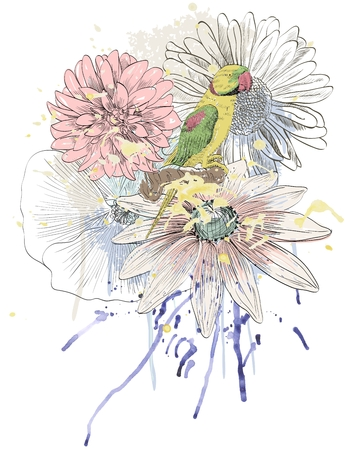 Vector sketch of a parrot with flowers. Hand drawn illustration