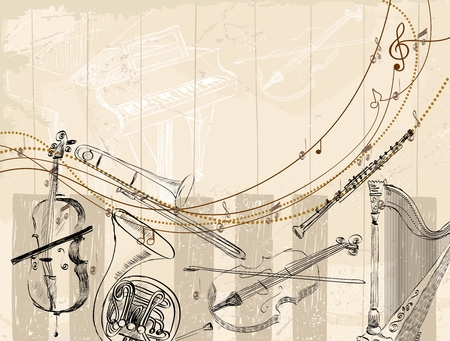 Vector Sketch musical instruments on a light background