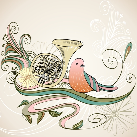 french horn: hand drawn french horn on a floral background
