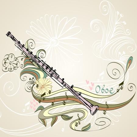 oboe: hand drawn oboe on a floral background Illustration