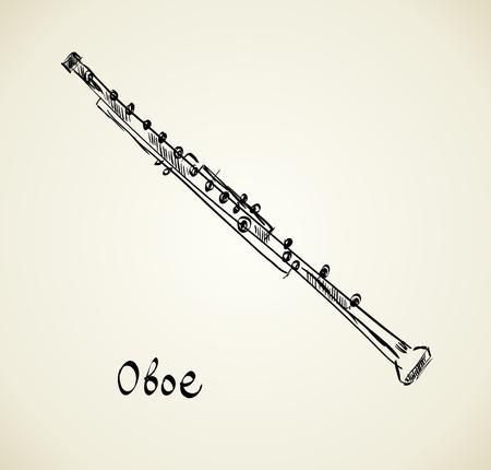 oboe: Vector hand drawn illustration of musical oboe.