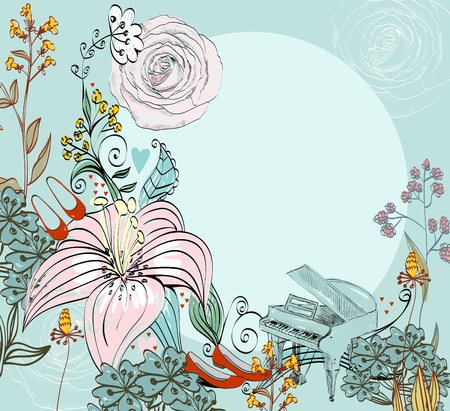illustration of a piano and blooming summer flowers