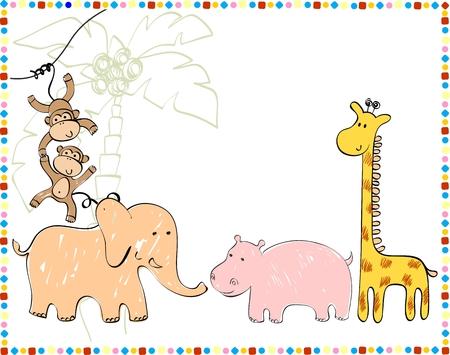 hippopotamus: Animales bebés . Dé la ilustración sorteo. Vectores